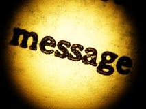 Impresión del viejo mensaje - ascendente cercano Foto de archivo libre de regalías