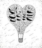 Impresión dibujada mano de la tipografía con las letras del globo y de la mano del aire caliente - el amor está en el aire Imagenes de archivo
