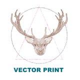 Impresión dibujada mano del vintage con los ciervos Perfeccione para una impresión de la camiseta, la postal, el cartel, la etiqu Imagenes de archivo