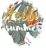 Impresión exótica del verano de Ropical para la camiseta con lema Foto de archivo