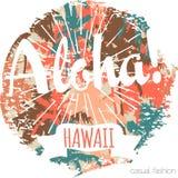 Impresión exótica tropical de Hawaii del vintage para la camiseta con lema Fotografía de archivo libre de regalías