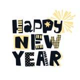 Impresión festiva de la motivación de la camiseta enrrollada de la Feliz Año Nuevo fotografía de archivo