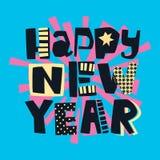 Impresión festiva de la motivación de la camiseta enrrollada de la Feliz Año Nuevo foto de archivo libre de regalías