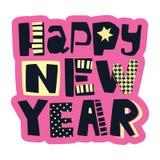 Impresión festiva de la motivación de la camiseta enrrollada de la Feliz Año Nuevo imagen de archivo