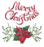 Impresión floral de la Navidad de la acuarela con las letras de la Feliz Navidad Rama de árbol del Año Nuevo con la poinsetia, el stock de ilustración