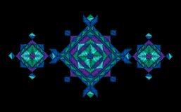 Impresión geométrica de la moda del bordado Ornamento nativo festivo del copo de nieve violeta azul del invierno El escote viste  Fotografía de archivo libre de regalías