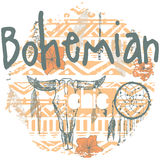 Impresión inconsútil de Boho con dreamcatchers y flechas Imagen de archivo
