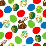 Impresión inconsútil de las liebres y de Pascua del chocolate stock de ilustración