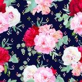 Impresión inconsútil floral del vector de la marina de guerra con la peonía roja y rosada de Borgoña, lirio del alstroemeria, euc Foto de archivo libre de regalías