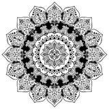 Impresión india bohemia de la mandala Estilo del tatuaje de la alheña del vintage foto de archivo libre de regalías