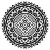 Impresión india bohemia de la mandala Estilo del tatuaje de la alheña del vintage Imagenes de archivo