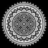 Impresión india bohemia de la mandala Estilo del tatuaje de la alheña del vintage Imagen de archivo libre de regalías