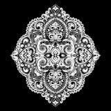 Impresión india bohemia de la mandala Estilo del tatuaje de la alheña del vintage Fotos de archivo