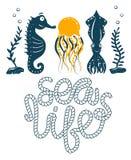 Impresión labradora simple del Seahorse, del calamar y de las medusas Bicolor Letras de la cita con la cuerda del mar Impresión p libre illustration