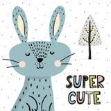 Impresión linda estupenda con el conejito divertido en estilo escandinavo libre illustration