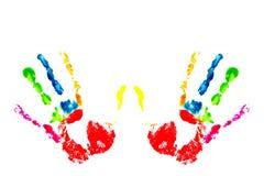 Impresión multicolora de la mano Imagen de archivo