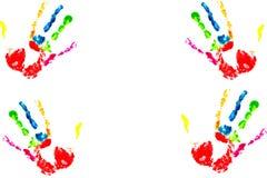 Impresión multicolora de la mano Fotos de archivo
