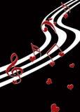 Impresión musical de la tarjeta del día de San Valentín Foto de archivo