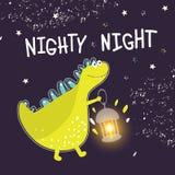 Impresión para la ropa de los niños, telas, postales Dinosaurio lindo con buenas noches de los deseos de la linterna Ilustración  stock de ilustración