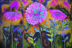 Impresión psicodélica de maravilla en un fondo colorido Fotos de archivo