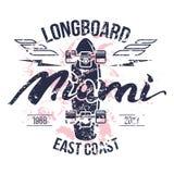 Impresión retra del emblema de Longboard ilustración del vector