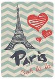 Impresión retra del vector del amor de París del estilo Foto de archivo libre de regalías