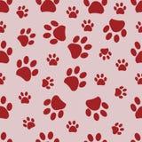 Impresión roja de la pata con el fondo rosado Fondo del modelo de la impresión de la pata del ` s de Valentine Day ilustración del vector