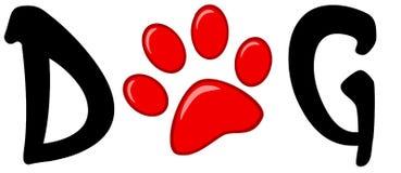 Impresión roja de la pata en el perro de la palabra Imagen de archivo