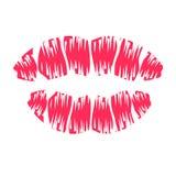 Impresión roja de los labios Foto de archivo libre de regalías