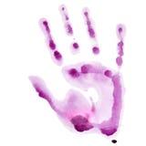 Impresión rosada de la mano de la acuarela Fotos de archivo libres de regalías