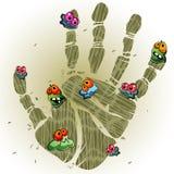 Impresión sucia de la palma Imagen de archivo