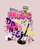 impresión temática de la camiseta de la música ilustración del vector