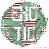 Impresión tropical con lema en vector Impresión de la camiseta Imagen de archivo libre de regalías