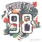 Impresión tropical con lema y número Foto de archivo