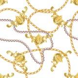 Impresi?n barroca con las cadenas de oro, llave de oro, perlas, correas, elments barrocos Remiendo del vector para la impresi?n,  libre illustration