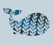 Impresi?n con la ballena ilustración del vector