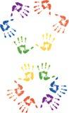 Impresión coloreada de las manos Foto de archivo