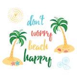 Impresión de la tipografía del color del verano con la isla, la palmera, los animales de mar y cita de motivación Fotografía de archivo libre de regalías