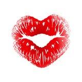 Impresión del beso en la dimensión de una variable del corazón Fotos de archivo
