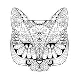Impresión del gato del zentangle del vector para la página adulta del colorante A dibujada mano Fotografía de archivo