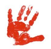 Impresión roja de la mano del niño Foto de archivo