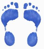 Impresiones azules del pie Imagenes de archivo