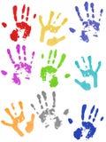 Impresiones coloreadas de la mano Foto de archivo libre de regalías