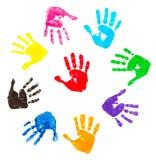 Impresiones coloridas de la mano Imágenes de archivo libres de regalías