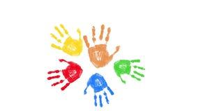 Impresiones coloridas de la mano aisladas en blanco almacen de video
