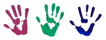 Impresiones coloridas de la mano en blanco Fotos de archivo libres de regalías