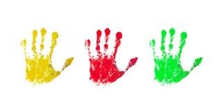 Impresiones coloridas de las manos de los niños Fotografía de archivo libre de regalías