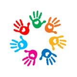 Impresiones de la mano con los corazones Por completo del ejemplo del vector del icono del amor Fotos de archivo libres de regalías