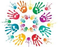 Impresiones de la mano de Holi Fotos de archivo