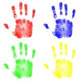 Impresiones de la mano de los niños Fotos de archivo